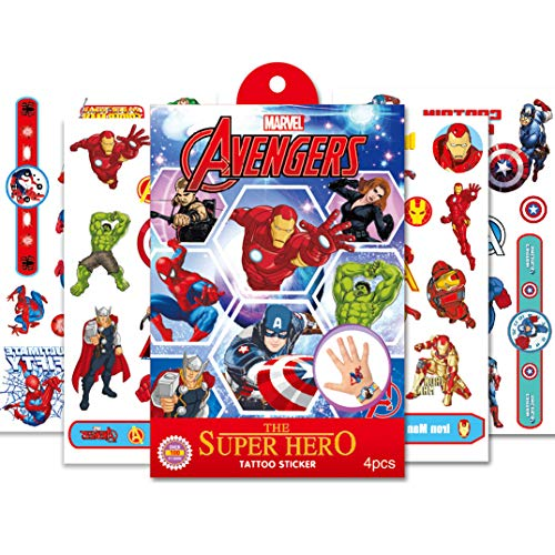 Eholder Temporäre TattoosKinder Superheld, Wasserfest Klebe Tattoo Kinder, Kindertattoos Junge Mädchen Klebetattoos Kinder Superheros Aufkleber Sticker (Typ 2)
