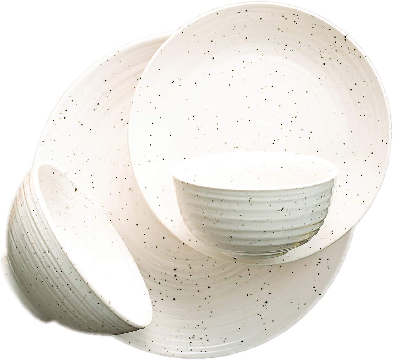 Sango Siterra Max 78% OFF 16-Piece Stoneware Dinnerware Plate Round Set with Sale SALE% OFF