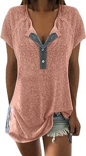 Womens Casual Short Sleeve T-Shirt,Women Loose Patchwork Casual Button Short Sleeve Blouse T Shirt Tops