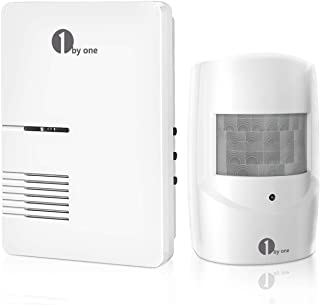 Driveway Alarm, 1byone Motion Sensor 1000ft Operating Range, 36 Melodies, Home Security Alert System with 1 Plug-in Receiver and 1 Weatherproof PIR Motion Detector, Protect Indoor/Outdoor Property