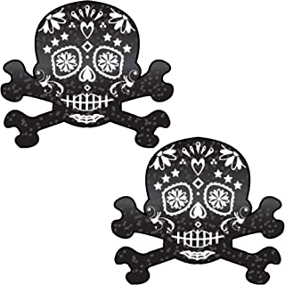 Black Glitter Candy Skull & Crossbones Pasties by Pastease o/s
