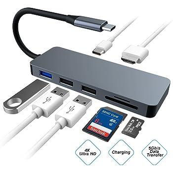 5-in 1 HUB USB 3.0 tipo C-C porte SD//TF CARD READER PER Huawei P20 Lite