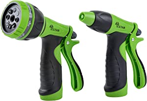 YESTAR Garden Hose Nozzle Spray Nozzle Combo Set, 8 Adjustable High Pressure Patterns Hose Nozzle and Water Pistol Nozzle for Watering Plants, Cleaning, Car Washing and Showering Pets - Set of 2