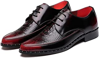 Casual shoes. Men's Loafers Leather Upper Dress Shoes Lace Up Slip-ons Low Top Ankle Oxfords Crocodile Wrinkle (Color : Black, Size : 6 UK)