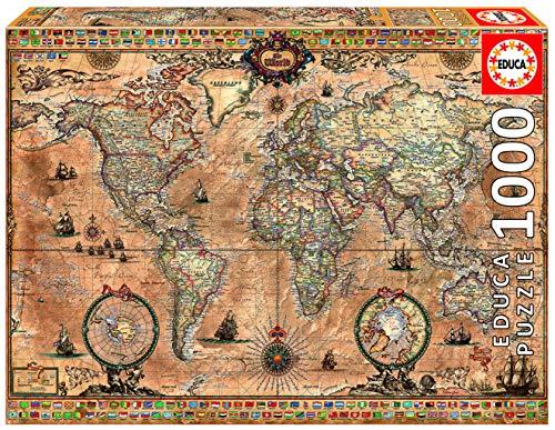 Educa - Mapamundi Puzzle, 1000 Piezas, Multicolor (15159)