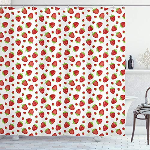 ABAKUHAUS Erdbeere Duschvorhang, Schmackhafte Erdbeeren, mit 12 Ringe Set Wasserdicht Stielvoll Modern Farbfest & Schimmel Resistent, 175x200 cm, Lindgrün Zinnoberrot & Weiß