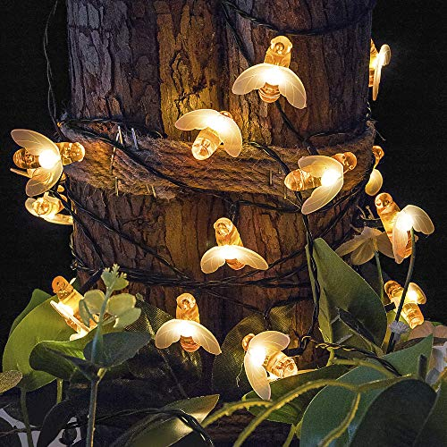 shinymolly Solar String Lights, 2 Pack 19.6FT 30 LED Solar Bee Fairy Lights 8 Modes Waterproof Outdoor Honeybee String Lights for Garden Patio Gate Yard Party Wedding Indoor Bedroom (Warm White)