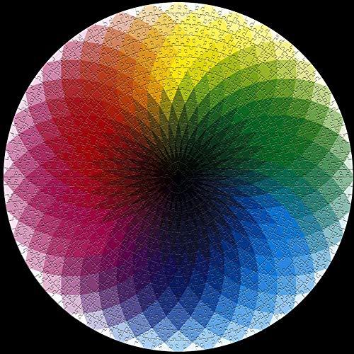 Gradient Puzzle Rompecabezas Redondo 1000 Piezas Arcoiris Colorido Rompecabezas Cartulina Tablero,Puzzle Educativo Juego para Adulto Niños Juguete para aliviar el estrés Juego Intelectual