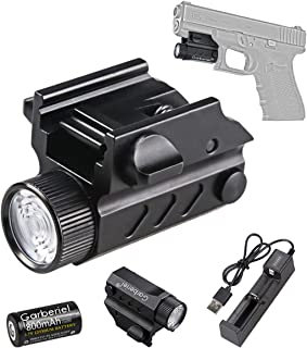 HECLOUD Tactical Handgun Flashlight, 550 Lumens Waterproof Rechargeable Glock Pistol Light Weapon Mount LED Torch with Bat...