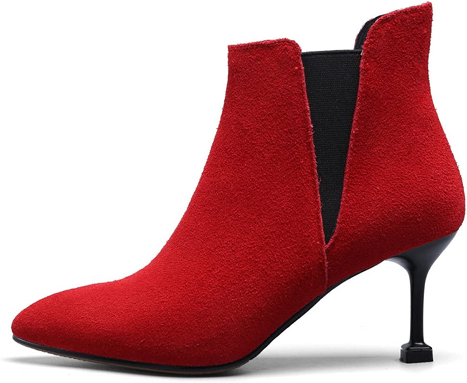 Nine Seven Suede Leather Women's Pointy Toe Stiletto Heel Sexy Dressy Handmade Fashion Ankle Booties