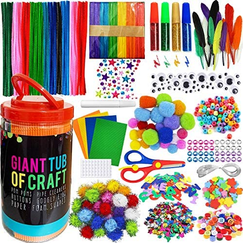 MOISO Mega Kids Crafts and Art Supplies Jar Kit 550 Piece Set Make Bracelets and Necklaces Plus product image
