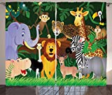 Ambesonne Zoo Curtains, Animals in The Jungle Funny Expressions Exotic Comic Cheer Natural Habitat Illustration, Living Room Bedroom Window Drapes 2 Panel Set, 108' X 84', Pine Green
