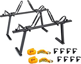 AA Products Model APX25 Fits Toyota Tacoma 2005-On Aluminum Truck Rack with 8 Non-Drilling C-Clamps and 2 Sets Kayak J-Racks with Ratchet Lashing Straps