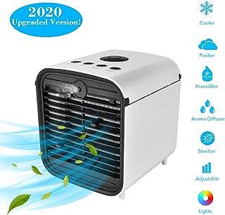 SAMMIU - Mini ventilador de aire acondicionado portátil USB para escritorio, humidificador y purificador de aire para el hogar, la oficina, plástico ABS, 4 IN 1