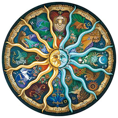 FALUCKYY 1000 PCS Rundes Puzzle DIY Constellation Circular Puzzles Schwieriges großes Puzzle Pädagogisches Stressabbau-Spielzeug für Erwachsene Kinder (12 Constellations)
