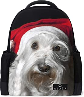 Mydaily Christmas Schnauzer Dog Backpack 14 Inch Laptop Daypack Bookbag for Travel College School