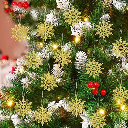 TaimeiMao 24Pcs Weihnachten Schneeflocken,Schneeflocken Deko,Glitter Schneeflocken Deko,Schneeflocke Weihnachtsbaumschmuck,Weihnachten Schneeflocken Anhänger,Weihnachtsbaum Deko (Golden)