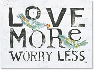 Love More Worry Less by Kellie Day, 35x47-Inch Canvas Wall Art