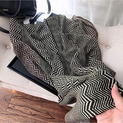 XINHUI herfst mode legergroen golven strepen viscose sjaal dames zachte print sjaal en sjaal Alpaca