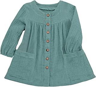 JYC 2019 Baby Girl Dresses Toddler Kids Long Sleeve Solid Ruffled Casual Princess Dress