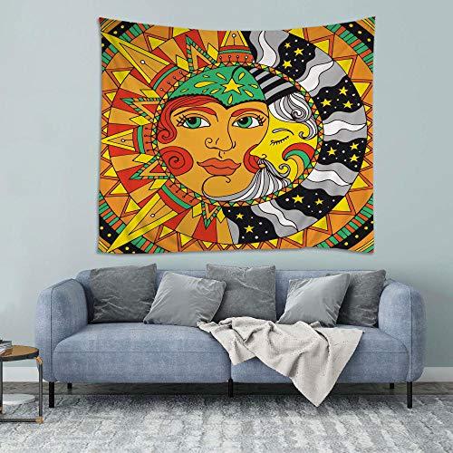 HONFFU Ruleta Sun Moon Tapiz, Utilizado para la decoración de la Sala de Estar, sábanas, manteles, Toallas de Playa, 148 cm * 200 cm