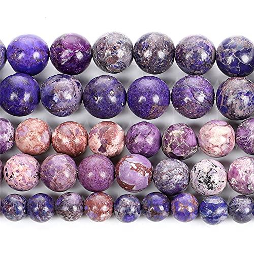 Púrpura emperador turquesa piedra natural redondo cuentas sueltas para hacer joyas DIY pulseras collar 4/6/8/10/12 mm H9272 10mm aproximadamente 38pcs