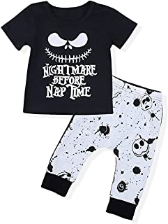 Christmas Toddler Baby Boy Girl Clothes 2PCs Outfit Set Nightmare Before Nap Time Top and Skull Pants 0-5T Kids Clothing Set