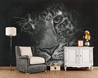ZDBWJJ Leopards Black and White Background Animal Wallpaper Living Room Sofa TV Wall Bedroom KTV bar Custom 3D murals -120cmx100cm