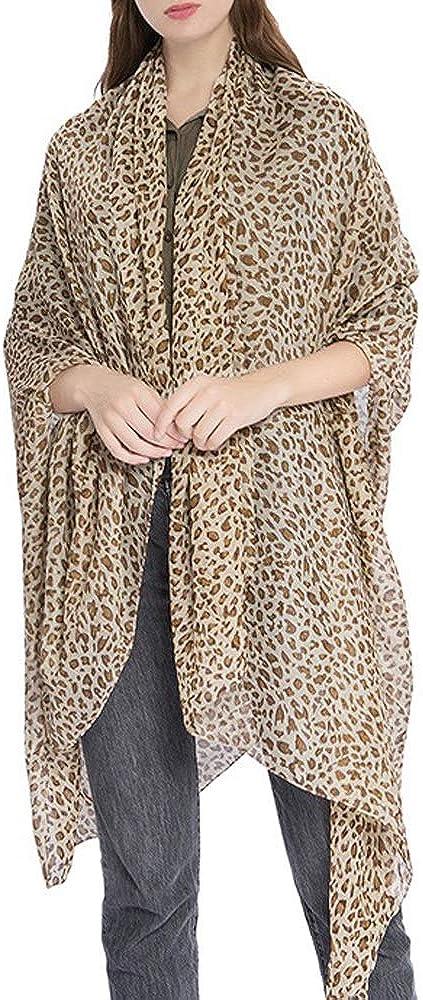 Fashion Scarfs Leopard Animal Print Chiffon Scarf Wrap Stole Shawl Scarves Long Scarf