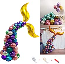 Amycute 54 PCS Mermaid Tail Balloons,12 Inch Latex Metallic Balloons for Birthday Wedding Mermaid Under The Sea Party Baby Shower Decorations Supplies