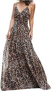 7b4ffbe9b6 abcnature Women Party Dresses Sexy High Waist V-Neck Dress Leopard Dress  Long Dress
