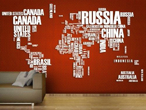 XXL-Tapeten Fototapete Wordcloud Map Red - weitere Größen und Materialien wählbar - DEUTSCHE Profi QUALITÄT von Trendwände