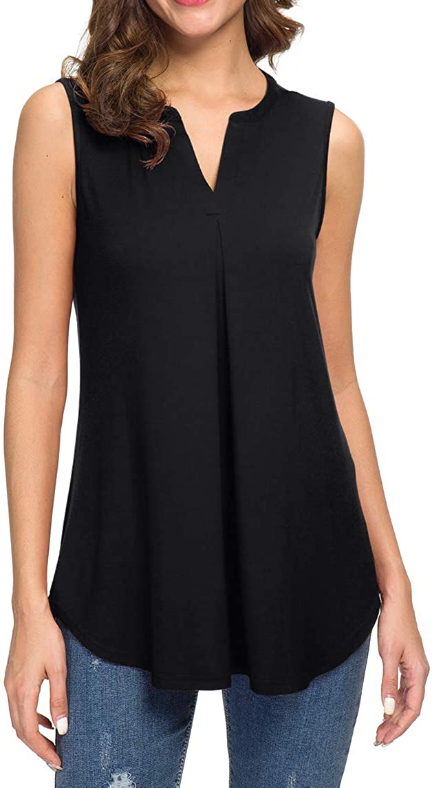 Neineiwu Women's Summer Sleeveless V Neck Max 69% OFF Cash special price Casual Tank Tops Blous
