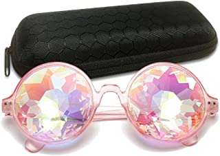 Round Kaleidoscope Glasses Rave Festival Diffraction Sunglasses with Case for Christmas Party