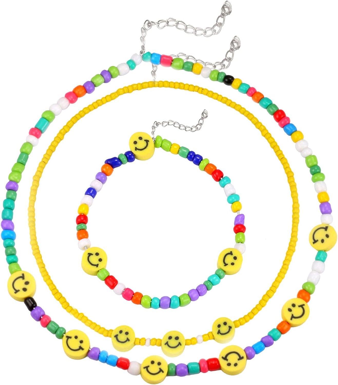 Layered Smiley Face Necklace Bracelets Set Boho Beads Rainbow Necklace Bracelets Handmade Colorful Chain Necklace for Women Girls
