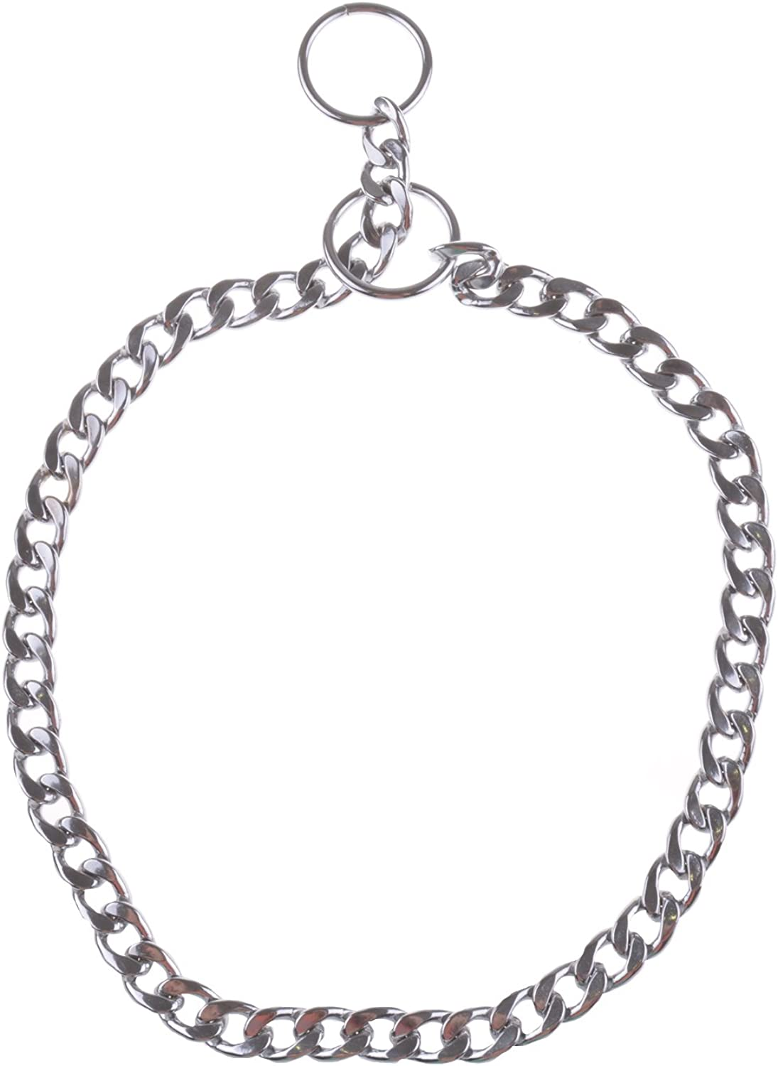 Heavy Duty Snake Chain Chrome Plated Metal Iron Dog Chain Collar for Training Walking Obedience Behavior for Small and Medium Dogs (60cm3.5mm)