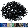 Grisun Black Fire Glass for Fire Pit, 1/2 Inch High Luster Reflective Tempered Glass Rocks for Natural or Propane Fireplace, Safe for Outdoors and Indoors Firepit Glass, 9.5 Pounds
