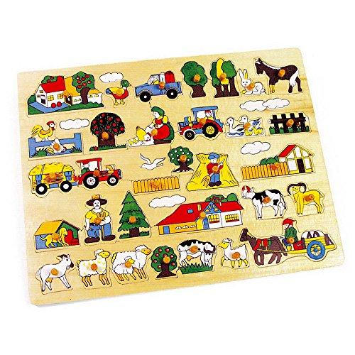 small foot 7195 Setzpuzzle Riesenbauernhof aus Holz, Holzpuzzle mit verschiedenen Motiven, für Kleinkinder ab 12 Monaten