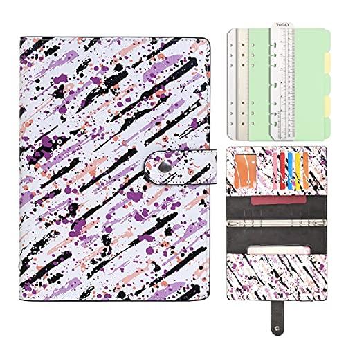 Cuaderno de piel rellenable con diseño de espiral, diario con bolsillos de 100 g/m², papel rayado para vuelos, escuela, trabajo (tinta de color, A5)