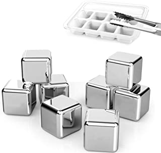 DERNORD Exclusive Stainless Steel Whiskey Stones - High Cooling technology Ice Cubes Chilling Rocks Reusable Wine Stone Durable Beer Drink Freezer Cooler Rock