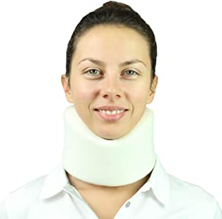 Vive Neck Brace - Soft Foam Cervical Collar - Vertebrae Whiplash Wrap Aligns and Stabilizes Spine - Adjustable Spinal Support Can Be Used While Sleeping and Relieves Pain, Pressure (White)