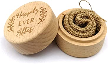 Personalised Wedding Ring Box with Linen Cloth, Happily Ever After Round Wooden Ring Bearer Box for Jewelry Trinket Organizers and Container Durable and Useful