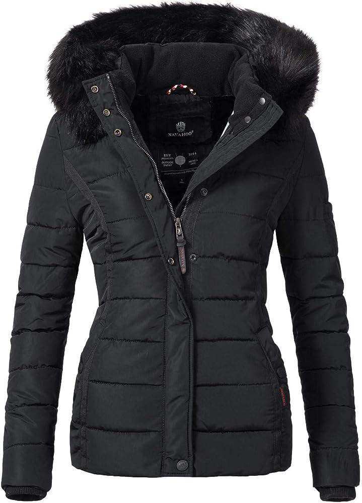Navahoo, giacca trapuntata invernale da donna, con cappuccio in pelliccia sintetica Miamor-36