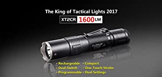 Klarus XT2CR Tactical Flashlight 1600 Lumens, Rechargeable, Programmable, Includes Rechargeable 18650 Battery, and More