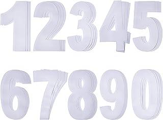 Números Blancos 0 a 9 Pegatina de Número de Basurero con Ruedas Números Auto Adhesivos Grandes, 17,5 cm por 9,5 cm, 40 Piezas
