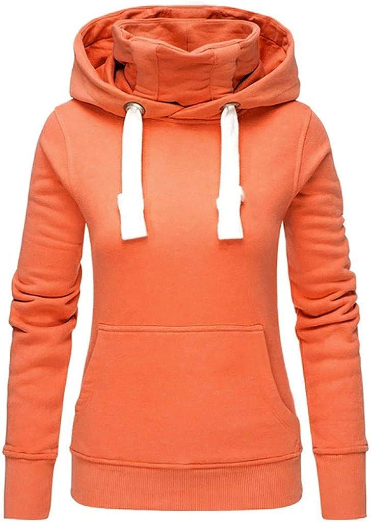 VonVonCo Pullover Sweaters for Women Ladies Pure Hat Turtleneck Long Sleeve Sweatshirt Tops Shirt
