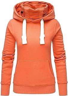 Onegirl Women Ladies Autumn Winter Solid Plus Size Hooded Turtleneck Long Sleeve Sweatshirt Pullover Tops Blouses