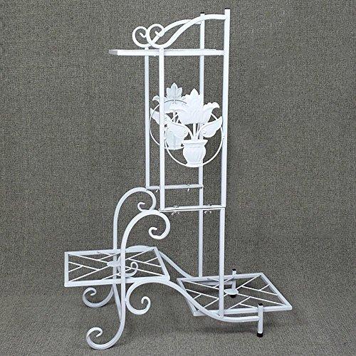 LLLXUHA Art de Fer Multi-Couche Support de Fleurs, européen intérieur Type de Plancher Cadre de bonsaï, Balcon Succulentes Présentoir,25 * 57 * 79cm, Blanc