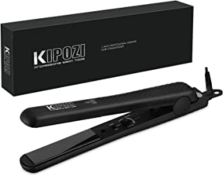 KIPOZI Pro 1 Inch Flat Iron Hair Straightener Ceramic Plates Straightens Curls All Hair Types Adjustable Temp Anti frizz Dual Voltage Black