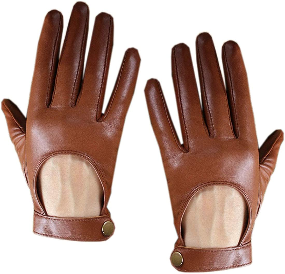 Women Tech Gloves Real Leather Short Brown Lambskin Sheepskin Belt with Button Closure Motorcycle gloves